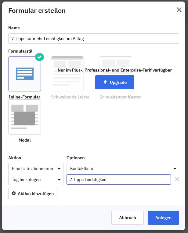ActiveCampaign bietet verschiedene Formularstile an