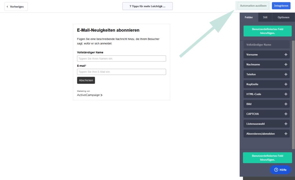 Eine Automation für ein Formular auslösen