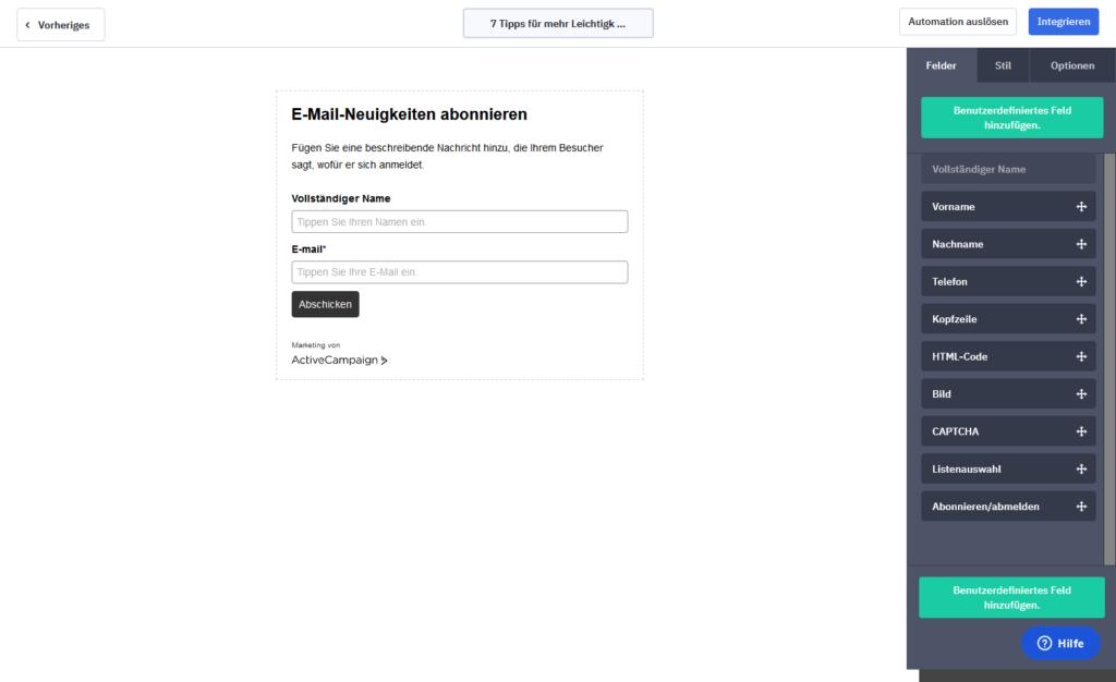 Der Formulareditor von ActiveCampaign