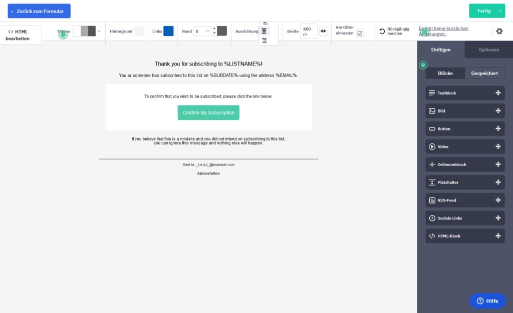 Standardmäßige Opt-In-Mail von ActiveCampaign